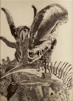 Xenomorph Alien Stippling by IntoTheCaramelFrappe