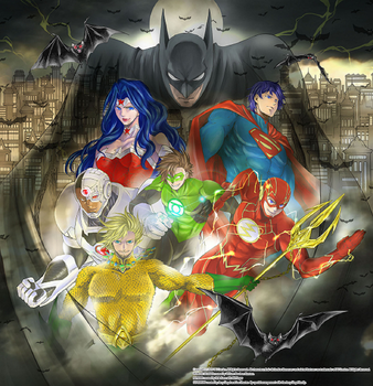 Batman and The Justice League by Fu-reiji