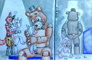 Withered foxy mangle and toy freddy the story by sammfeatblueheart