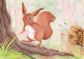 Squirrel and Snail by Shandria