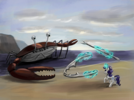 Rarity Fighting a Giant Crab by Fahu