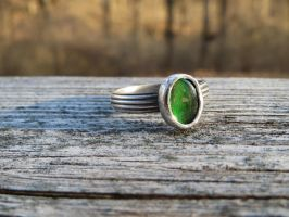Ammolite ring with pattern silver band by whippetgirl