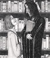 Irma Pince and Severus Snape by shadowycat