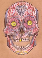 flower sugar skull by mojoncio