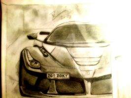 LAFERRARI PENCIL DRAWING by zoky88