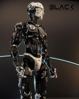 Robotic man in profile by Ociacia