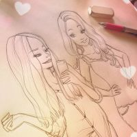 Fan art sketch - Megan and Liz | DebbyArts by DebbyArts