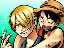 - Sanji and Luffy - by honeyf