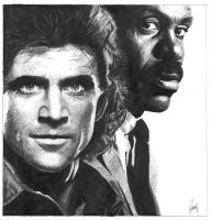 Mel Gibson and Danny Glover - Lethal Weapon by igoubej