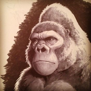 INKtober Day 5: Gorilla by moth-eatn