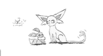 Eevee and  Espeon Sketch by XxScratchkittyxX