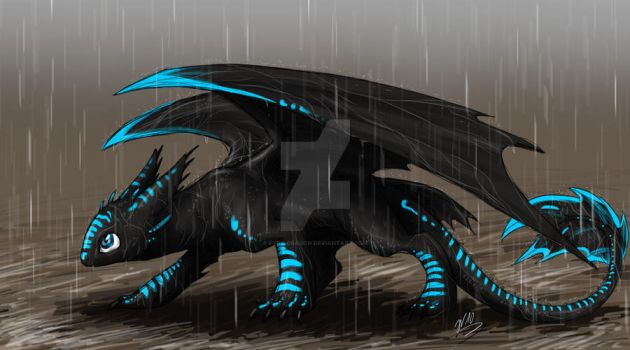 Night Fury in the Rain by Fyre-Dragon