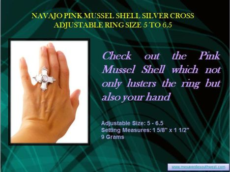 Navajo Pink Mussel Shell Silver Cross Adjustable R by mesaverde1