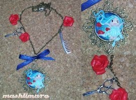 Little Figaro Girl with Roses Necklace by mashlimaro