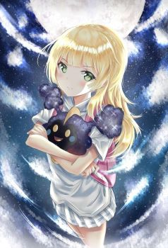 Lillie and Cosmog Fanart by Fhilippe124