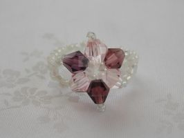 Mauve and pink bicone flower ring 411b by Quested-Creations