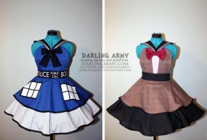 Sailor Who - TARDIS and Smith - Cosplay Pinafores by DarlingArmy