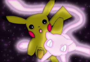 Pikachu surprised by Mew by Fallen-Angel-Kindra