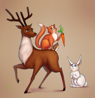 A deer, a cat and a rabbit by murr000