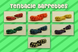 Tentacle Barrettes by querulousArtisan
