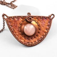 Rose Quartz and Copper 'Shield' Necklace by sylva