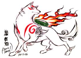Fan Art Okami Amaterasu Brush Sketch by sonialeong