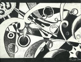 Scratchboard Abstract by yuuriDvampy