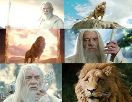 Gandalf VS. Aslan by INMH