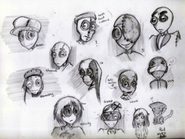 9 canon and OC male sketches by theREDspy