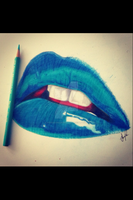Blue Lipstick drawing by OfficialDeaderaser