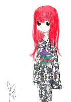kimono with red hair I mean pink by Monkesara