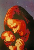 grandmother and infant spray paint portrait by toolowbrow