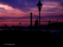Purple Sunset Bridge Savannah, GA. by gdsbngd2me