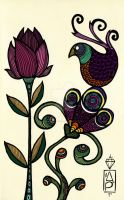 bird and flowers by AlessandraPlasterpad