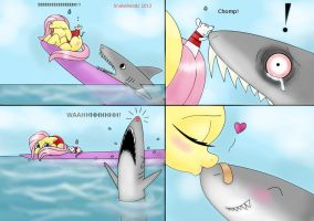 MLP Fluttershy, the rat and the shark by snakehands