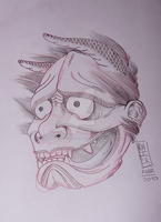 Hannya Sketch by kwickrodrigues