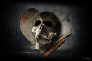 skull and rotten, broken heart by Sad-Fantasy