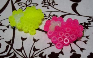 Yellow and Pink Hair Barrettes by cadillacphunque