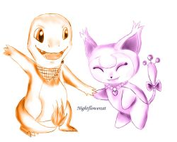 Charmander and Skitty explorers by Nightflowercat