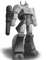 Megatron B+W digital painting by Spikeprime