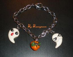 Cute halloween ghost and pumpkin charm bracelet by Bunnymoon-Cosplay