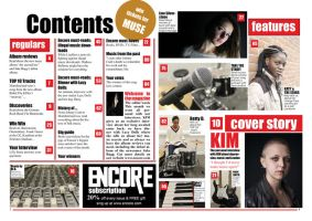 contents page - music magazine by AlaasDesigns