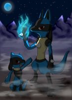 .:Lucario and Riolu:. by mushydog