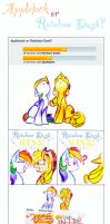 Rainbow Dash or Applejack? by iMarieU