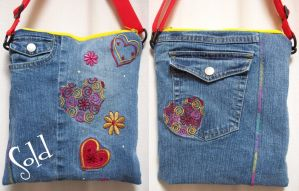 Hearts Swirls Blue-Jeans Bag by SmilingMoonCreations