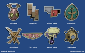 Pokemon Badges - Kalos League by seancantrell