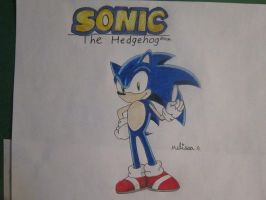 My drawing of Sonic the hedgehog colored by OceanSkyViolet