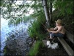 Angler - Boy and Dog by Eirian-stock