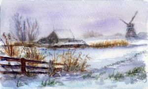 Winter landscape 22. Watercolour. by alartstudio