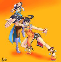 SFXT Fan art Ling Xiaoyu and Chun-Li by AzureBladeXIII